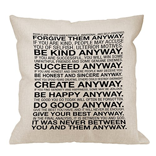 HGOD DESIGNS Inspirational Quotes Pillow Case, Mother Teresa Anyway Quote Cotton Linen Cushion Cover Square Standard Home Decorative Throw Pillow for Men/Women 18x18 inch White Black