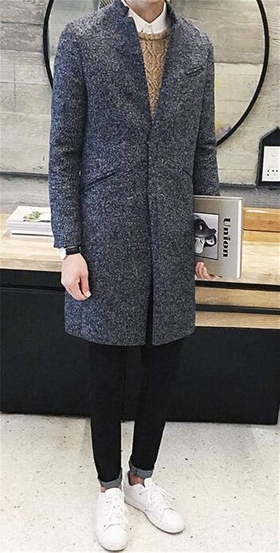 YULEgowinner Mens Winter Slim Fit Overcoat Thick Tweed Casual Stand Collar Pea Coat