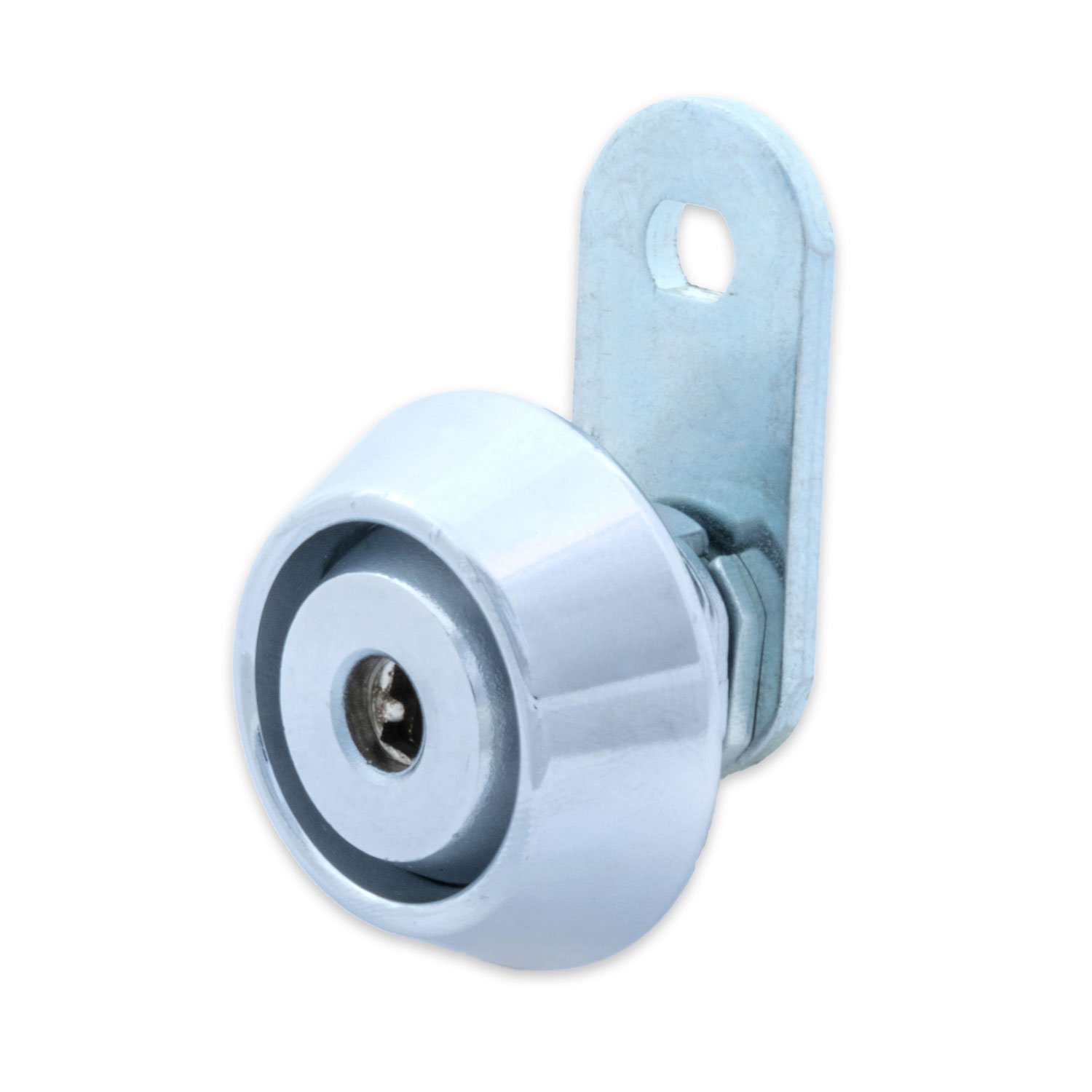 FJM Security C8418B-KD European Style Cam Lock with Stainless Steel Collar Ring and Chrome Finish, Keyed Different