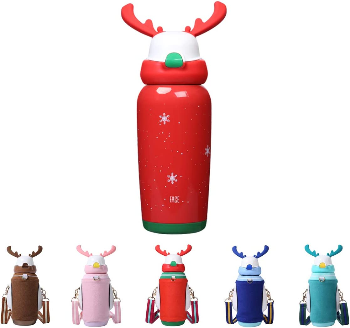 FACE Vacuum Insulated Water Bottle for Kids Elk Shape Thermal Christmas Gifts Popular with Boys and Girls