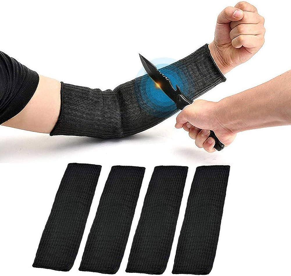 2 pares de protección de brazo negro Kevlar manga resistente al corte resistente a quemaduras anti abrasión seguridad para jardín cocina trabajo agrícola