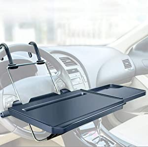 Car Trays For Eating-Food-Office, 14 Inch Car Laptop Mount Stand Desk, Car Desk For Passenger Seat, Steering Wheel Table|Universal For Truck,Van,Car,SUV