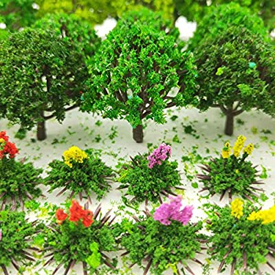 BLEBRDME 60 Pieces Model Trees 1.36-6 inch Mixed Model Tree Train Scenery Architecture Trees Fake Trees for DIY Crafts Scenery Landscape Natural Green Building Model