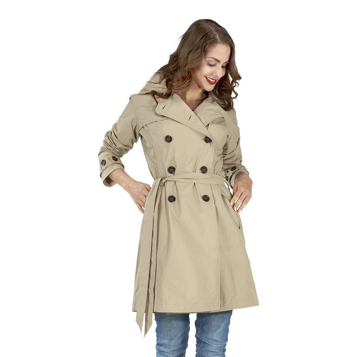 Happy Rainy Days Women's Classic Trench Coat With Removable Hood, Sand , Medium