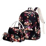 Mikiya 3pcs Floral School Sac à Dos Nylon Portable Computer Dayback Adolescence Cartable Sac à Main Sac à Déjeuner Sac à Crayon Boîte à Gants Pour Filles