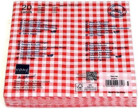 33 x 33 cm 120 Lunch D/éjeuner Serviettes Carreaux red 3 plis Vichy Design