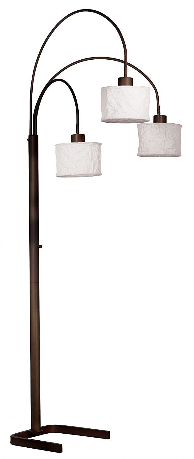 kenroy home 30674orb crush arc 3light lamp with white paper shades oil rubbed bronze electrical outlet switches amazoncom - Arc Floor Lamps