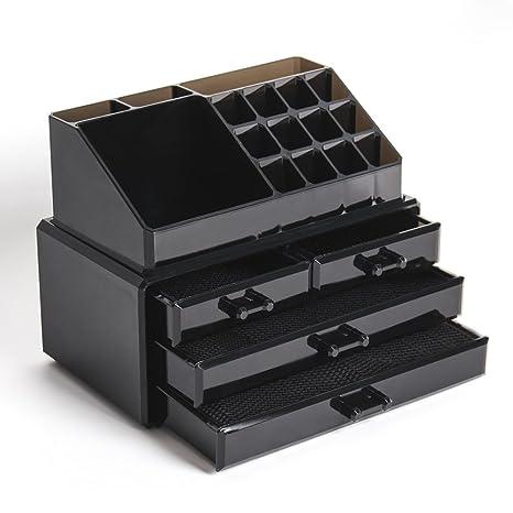 Display4top Caja acrílica Estante de maquillajes Maquillaje Cosméticos Joyería Organizador (4 Drawers Black)