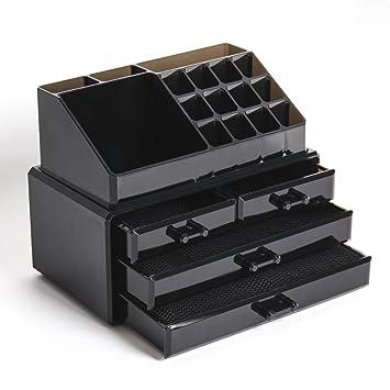 Display4top Caja acrílica Estante de maquillajes Maquillaje Cosméticos Joyería Organizador (4 Drawers Black): Amazon.es: Belleza