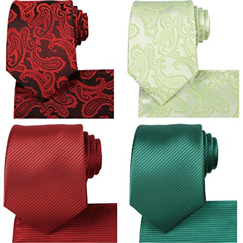 KissTies 4 Tie Pocket Square Sets + Magnetic Necktie Gift Box by KissTies