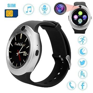 Diadia - Reloj Inteligente con Bluetooth, Monitor de frecuencia Cardíaca y Pantalla Completa Redonda,