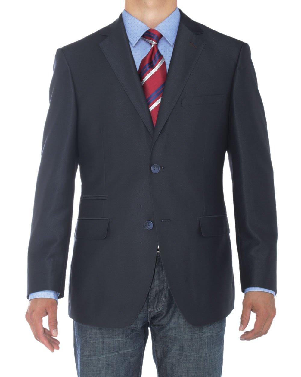 Luciano Natazzi Mens Two Button Notch Lapel Blazer Modern Fit Suit Jacket (54 Long US / 64 Long EU, Blue)