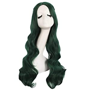 MapofBeauty 28 Inch/70cm Carve Bangs Beautiful Long Curly Wavy Hair Cosplay Wig (Pine Green)
