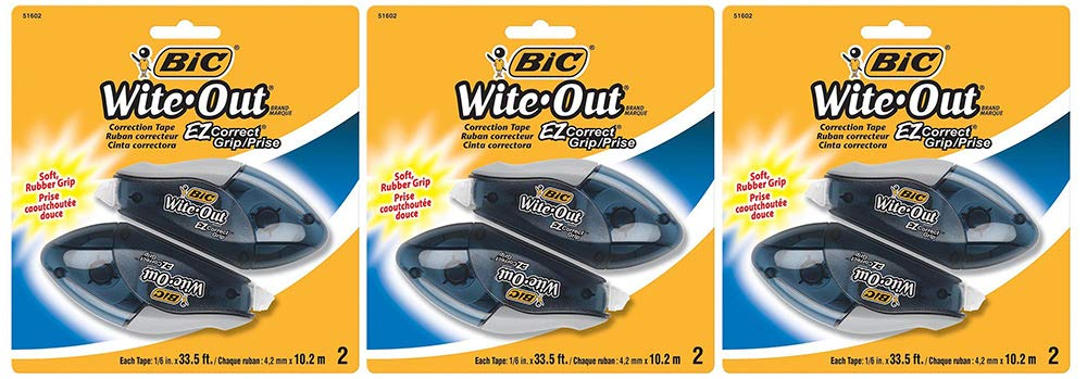 BIC Wite-Out Brand EZ Correct Grip Correction Tape, White, 2 Count (3 Pack)