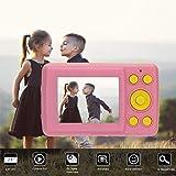 ACHICOO 子供用カメラ デジタルカメラ カメラ 2.4インチ HD スクリーンキッド 16MP 防振 フェイス検出 カムコーダー 子供用 プレゼント ピンク