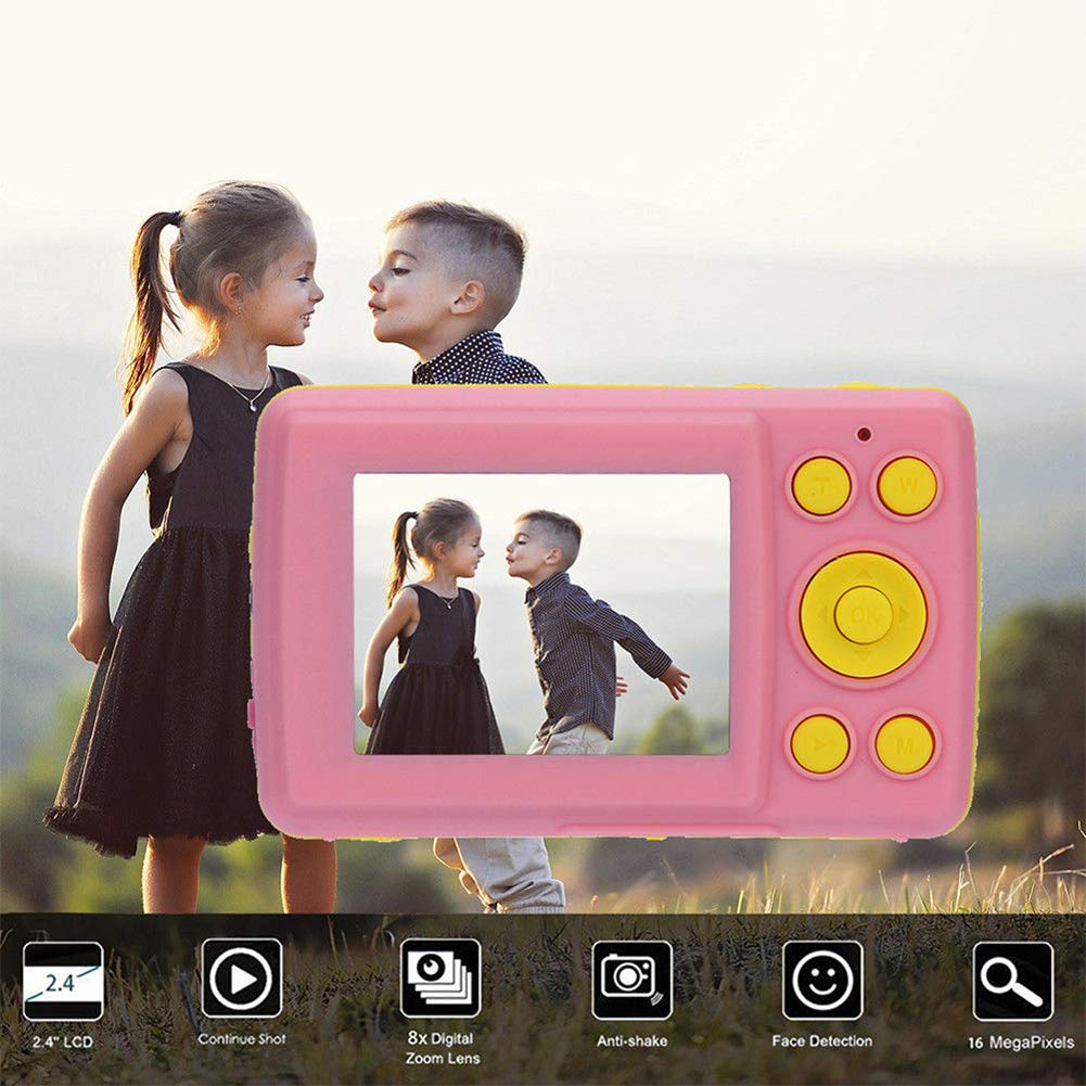 RONSHIN Kids Camera, 2.4 Inch HD Screen Kid Digital Camera 16MP Anti-Shake Face Detection Camcorder Pink by RONSHIN