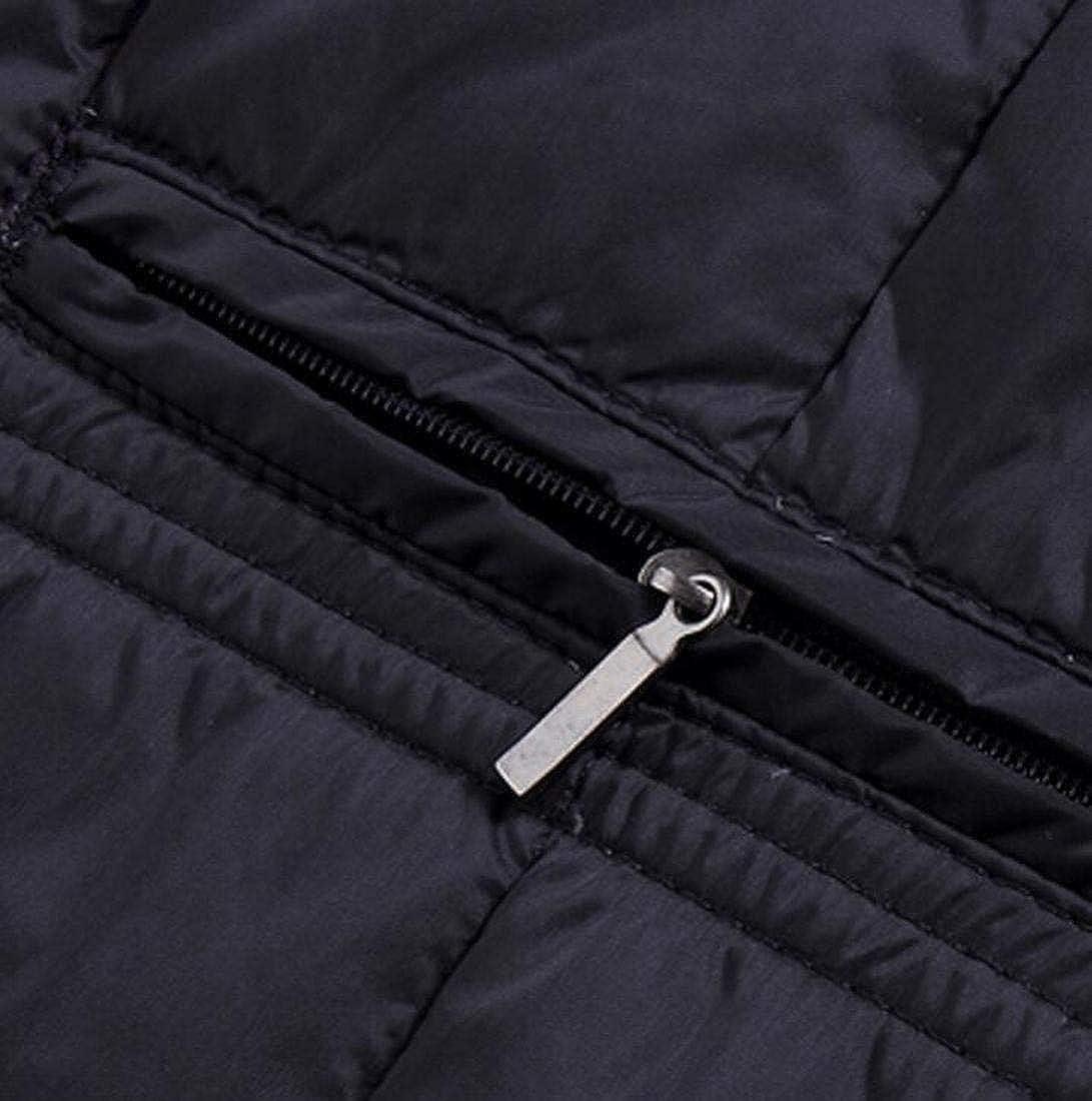 CRYYU Men Warm Thicken V-Neck Slim Quilted Winter Down Vest