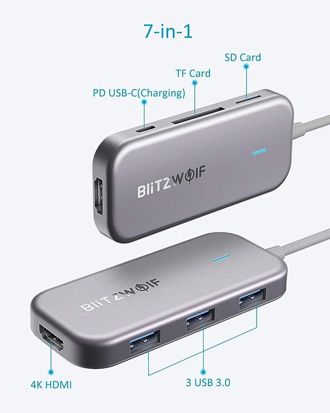 BlitzWolf - Adaptador USB C 7 en 1 con HDMI 4K, fuente de ...