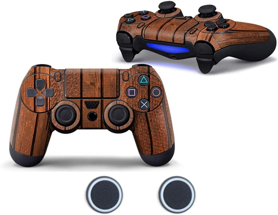 Sololife Brown Wooden Floor PS4 Controller Skin with Two Silicone Thumb Grip Caps for Sony Playstation 4 DualShock Wireless Controller