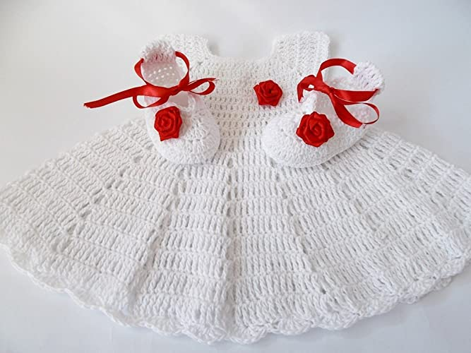 eed43acdea1e Amazon.com  White baby dress Crochet baby set Crochet baby shoes ...
