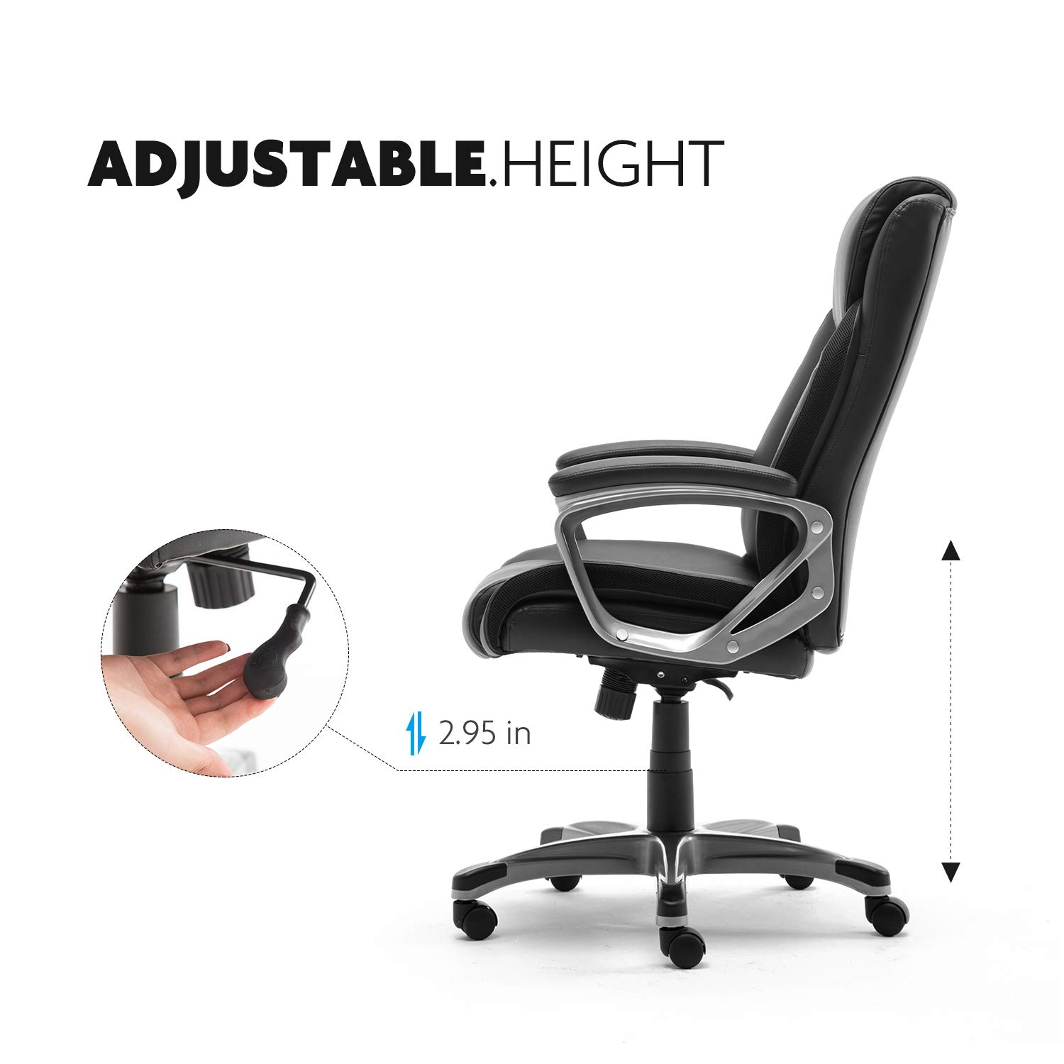 110/° Tilt Lock and Adjustable Lumbar Support CANMOV Ergonomic High Back Leather Office Chair Thick Padding Computer Desk Chair with 90/° Black