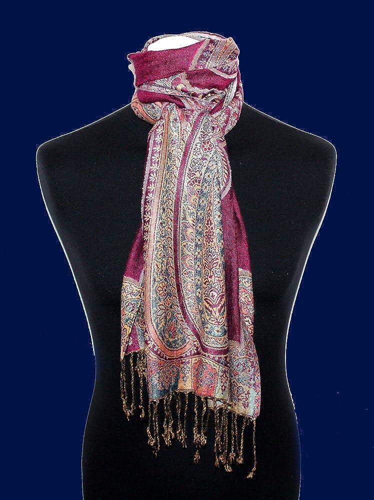 /écharpe paisley 35 x 160 cm attrayant et noble pour le printemps et l/´/ét/é Lorenzo Cana Foulard de 100/% viscose pour la femme une sensation de luxe en rouge bordeaux rose bleu clair