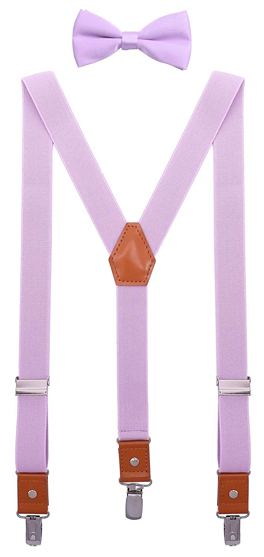 SUNNYTREE Mens Kids Suspenders Bow Tie Set Adjustable Y Back Elastic