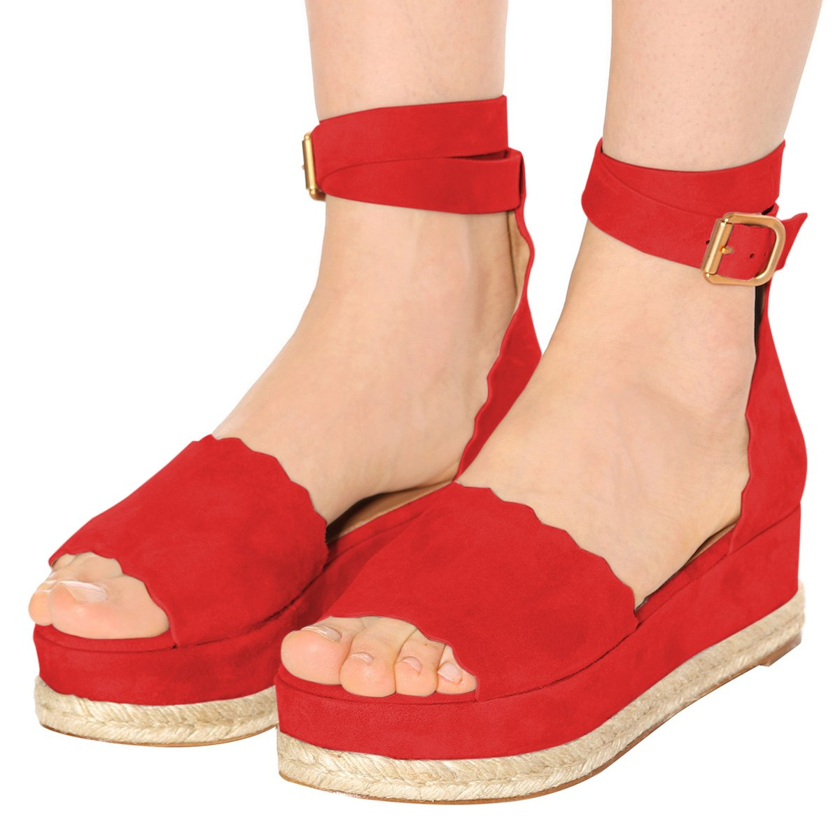 YDN Women Espadrille Peep Toe Ankle Straps Wedge Sandals Low Heels Platform Shoes with Buckle B07DCNQL4M 11 M US|Red