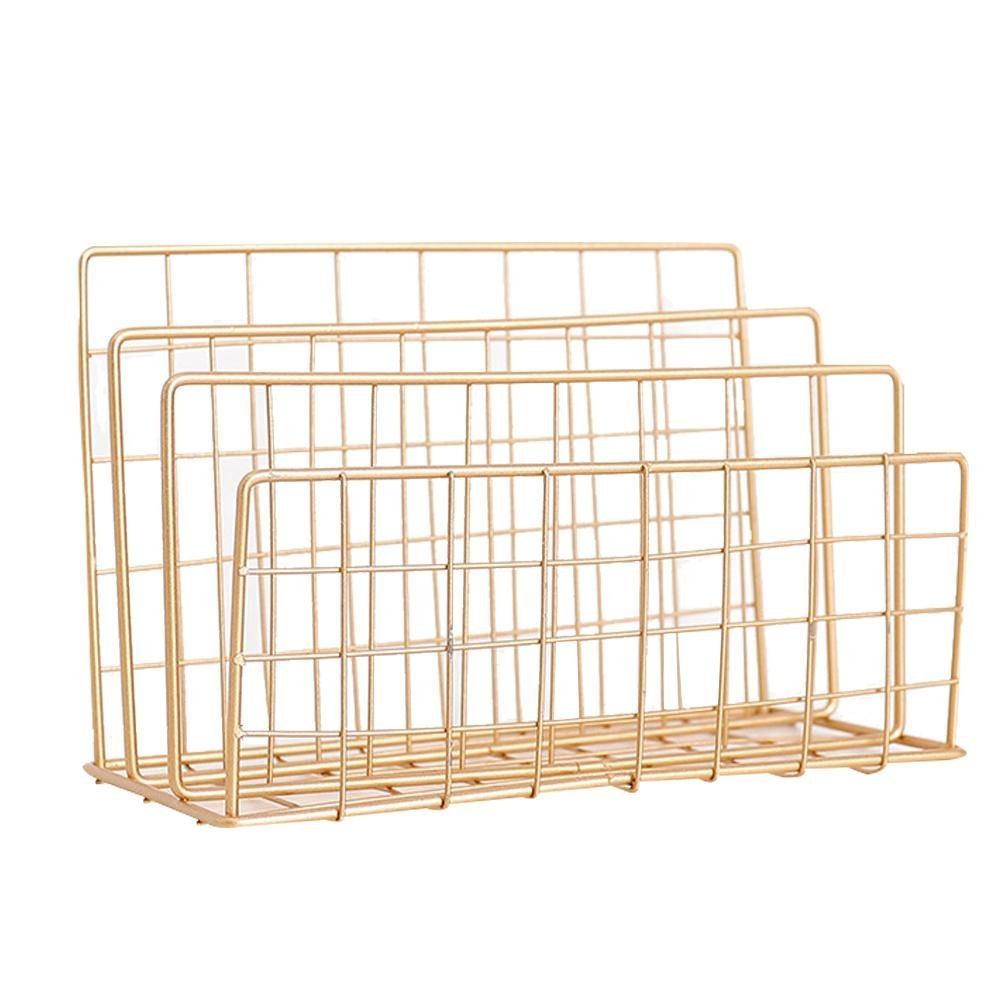 LianLe 3 Tier Iron Storage Rack Stand Basket,Nordic Style Grid Metal Organization Rack For Newspapers And Periodicals Magazine File,Gold