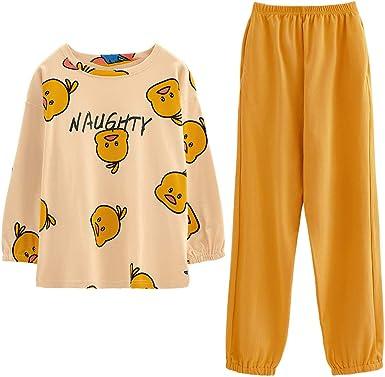 GOSO Pijama para niñas con Estampado de Dibujos Animados y Pantalones Largos para Dormir de 8 a 14 años