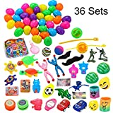 Joyin Toy 36 Toys Filled Surprise Eggs, 2.25 Inches Bright Colorful Prefilled Plastic Surprise Eggs with 18 Kinds Popular Toys
