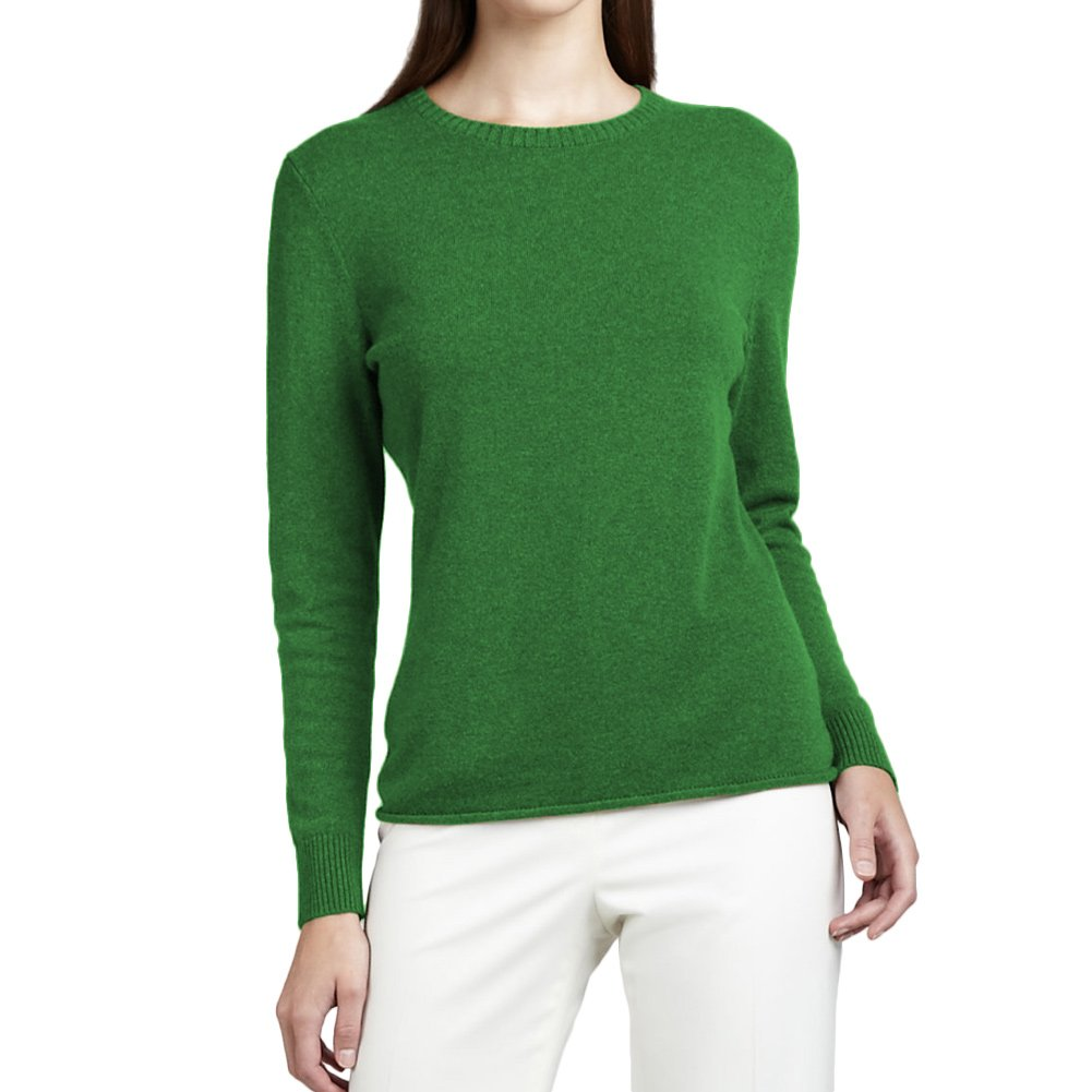 Parisbonbon Women's 100% Cashmere Crew Neck Sweater Color Apple Green Size S