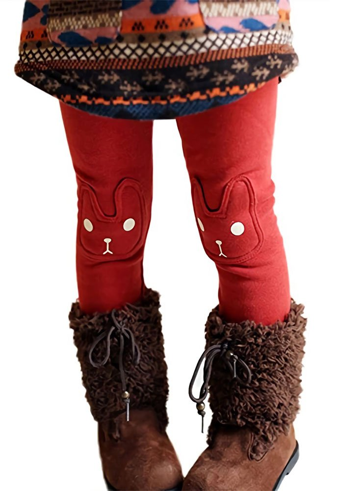 Kids Girls Winter Leggings Bunny Printed Thick Warm Fleece Pants for 2-7 Years Red,130/5-6 Years