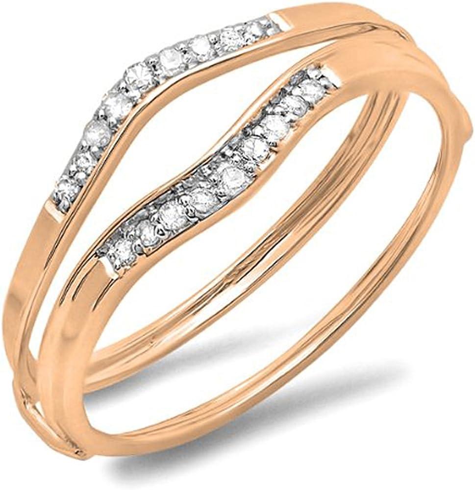 Dazzlingrock Collection 0.12 Carat (ctw) 14K Gold Round White Diamond Ladies Anniversary Enhancer Guard Wedding Band