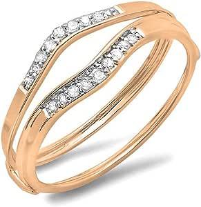 Dazzlingrock Collection Alianza de boda de oro de 18 quilates con diamantes blancos redondos de 0,12 quilates