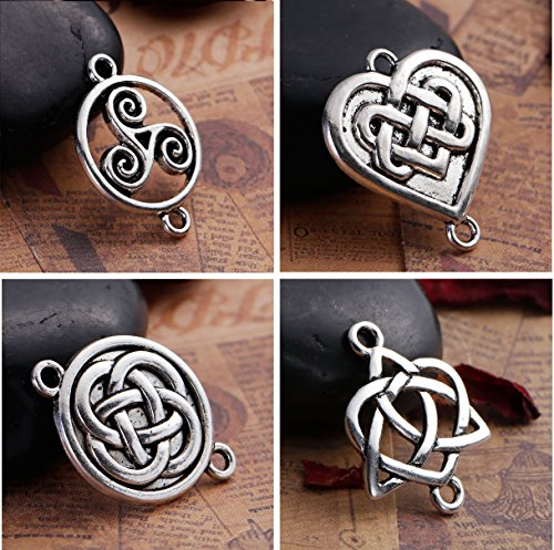 Celtic Knot Connectors, 80 pc (20 of Each) Silver Tone Findings ()
