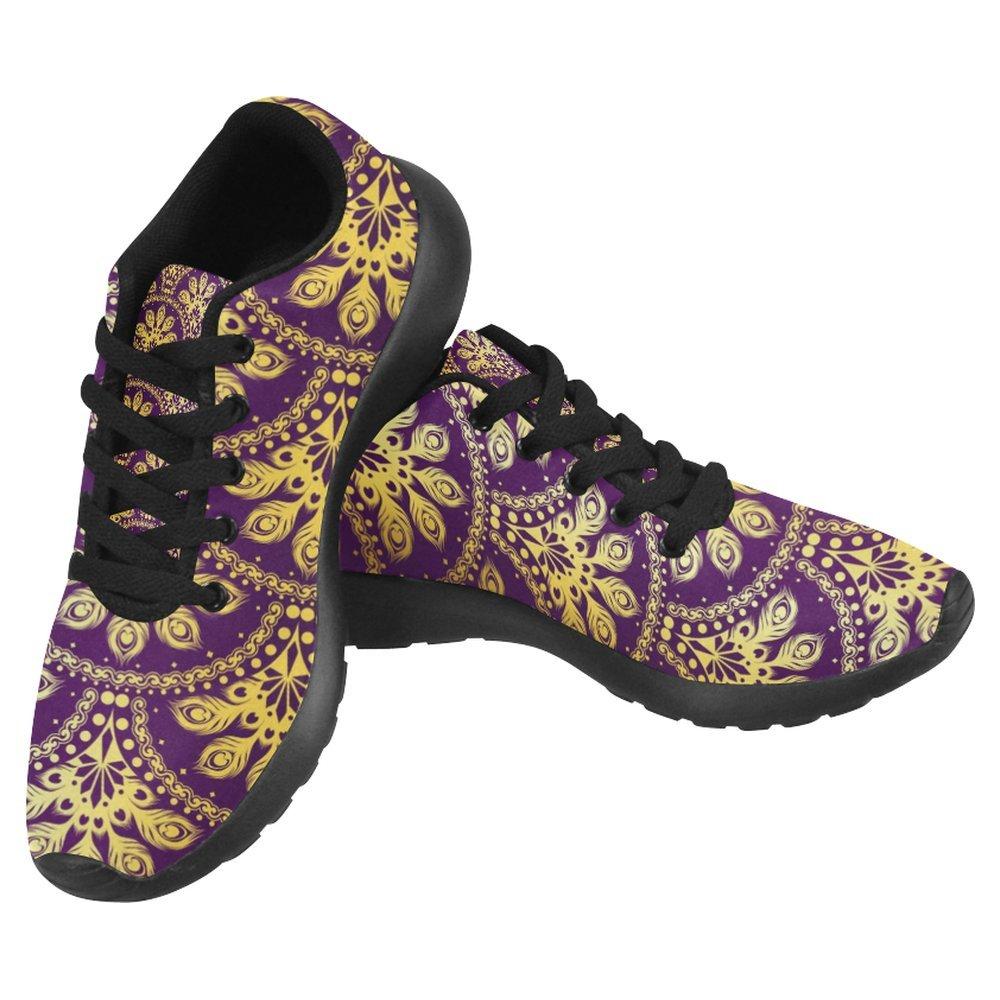 InterestPrint Women's Jogging Running Sneaker Lightweight Go Easy Walking Casual Comfort Sports Running Shoes Size 8 Gold on Purple Peacock Sari Pattern