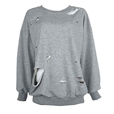 pretty nice 4a339 7ce27 OVERDOSE Damen Mode Sweatshirt Pullover Strickjacke Hallow Loch Crop Top  Coat Sport Pullover Tops