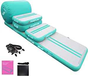HIJOFUN Premium 5pcs Set of Inflatable Gymnastics Air Mat Tumble Track Tumbling Mat Floor Mats with Electric Air Pump for Home Use/Training/Cheerleading/Beach/Park and Water (Mint Green)
