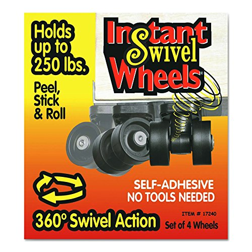RollArounds Instant Swivel Wheels, Self-Adhesive, 250 lbs/Set, Black, 4/Set (17240) from Master Caster