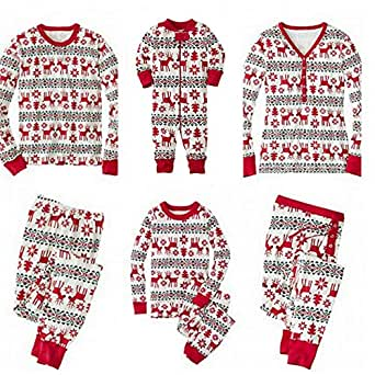 SERAPHY Matching Christmas Pajamas Family Set Holiday Pjs Matching Couples Kids 2 Pieces Warm Clothes Sleepwear-Baby-12M