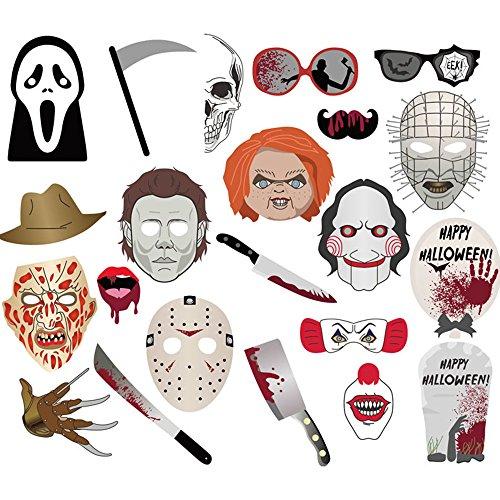 Efivs Arts 22pcs Halloween Photo Booth Props Photobooth Props DIY Kit for Halloween Party -