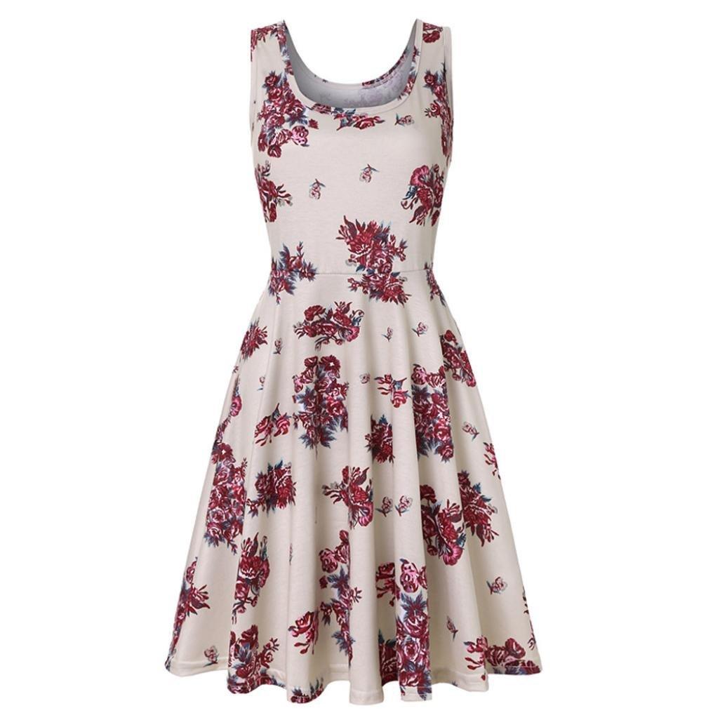 NREALY Falda Women's Sleeveless Printing Summer Beach A Line Casual Dress Floral Dress(M, c_White)