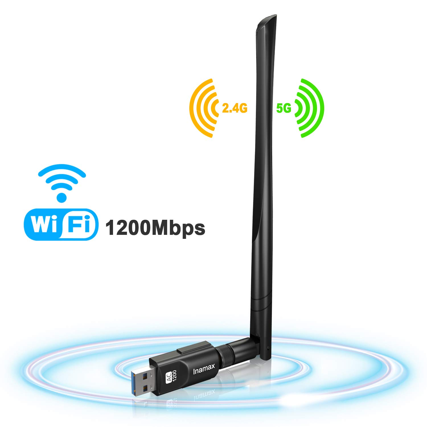 USB WiFi Adapter 1200Mbps, USB 3.0 Wireless Network WiFi Dongle with 5dBi Antenna for Desktop Laptop PC Mac,Dual Band 2.4G/5G 802.11ac,Support Windows 10/8/8.1/7/Vista/XP,MacOS 10.5-10.14 by Inamax