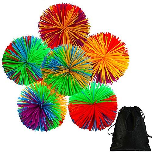 Six Monkey Balls - Aneco 6 pieces Colorful Monkey Stringy Balls 2.75 Inches Sensory Fidget Toy Stress Balls Rainbow Pom Ball Active Toys with Drawstring Bag