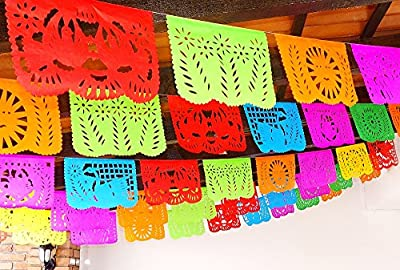 Cinco de Mayo Party Decorations, Papel Picado Banner, Over 50 feet Long, Multicolored PAPER garland, Mexican Decorations, Weddings, Quinceneras, Birthdays, Fiesta party supplies, 5 de Mayo