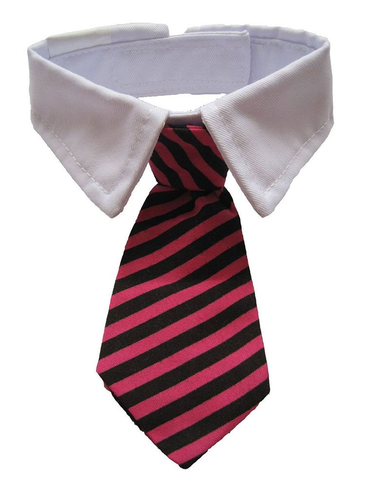 Leegoal Dog Cat Pet Stripe Bow Tie Neck Tie with White Collar (Roseo Black St
