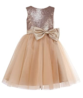 bec137d88 thstylee Girls Champagne Sequin Flower Girl Dress Junors Bridesmaids Dresses  Size US 12T: Amazon.co.uk: Clothing