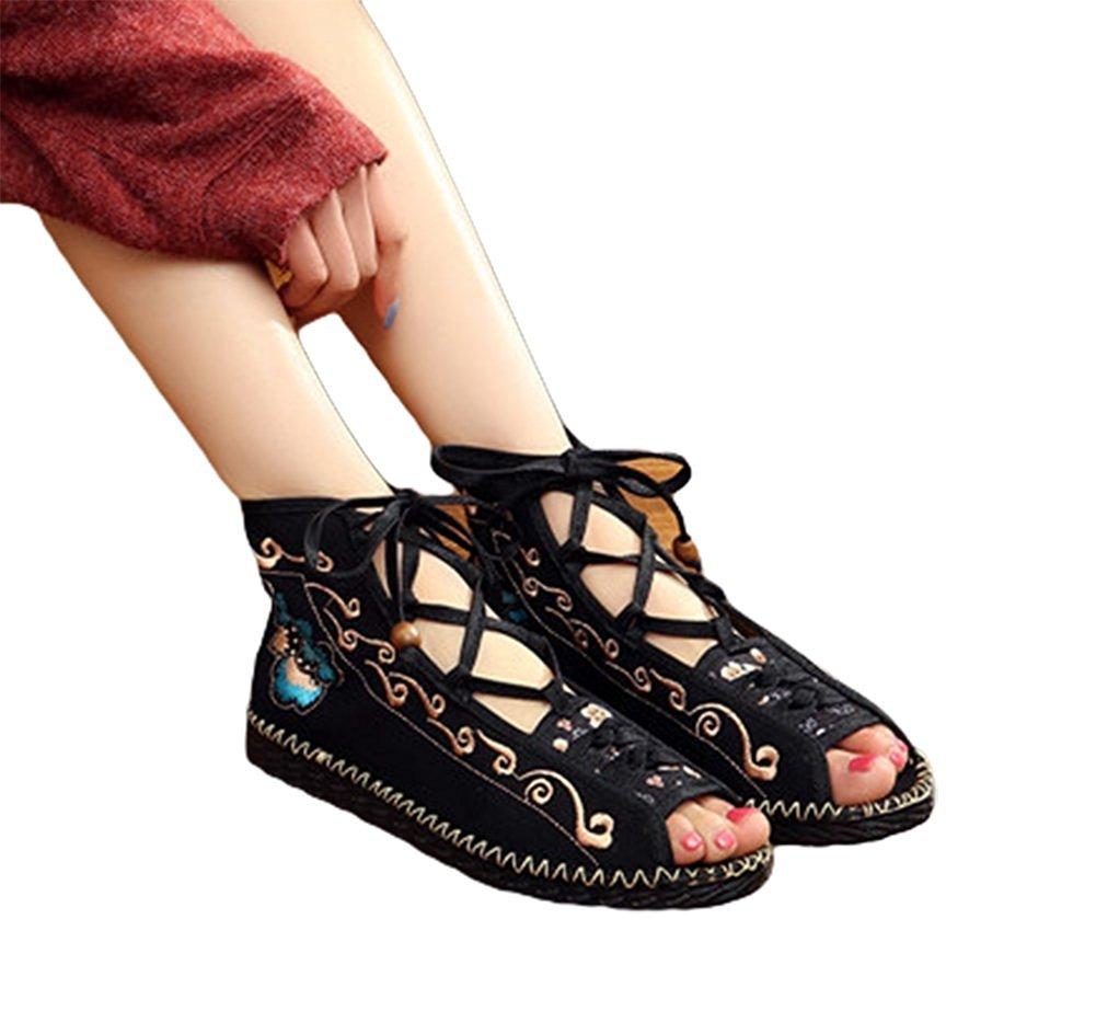 Kool Classic Women's Embroidery Open Toe Lace-up Gladiator Roman Flats Sandal B06XW3B7RC 36 M EU=6 B(M) US|Style Black