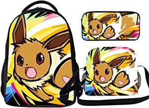 3 Piece Backpack Set Eevee Poke-mon Students Casual Daypack Set with Insulated Lunch Bag and Pencil Box for Teens Girls Boys